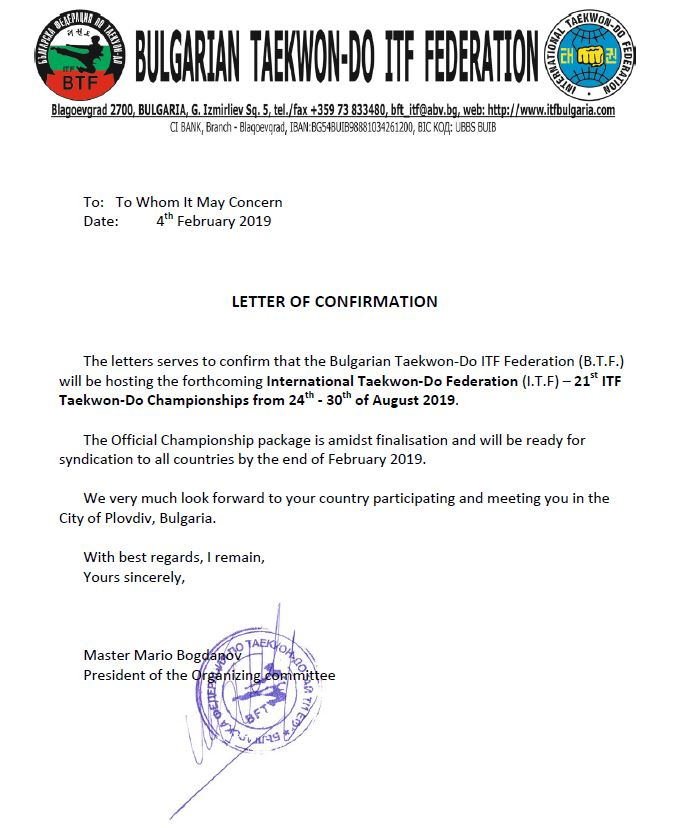 Letter of Confirmation - ITF Taekwon-Do Championships 2019
